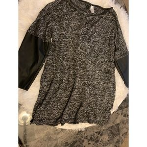 Gray & black shirt with faux leather sleeves